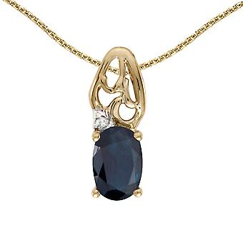 14k Yellow Gold Oval Sapphire And Diamond Pendant with 18