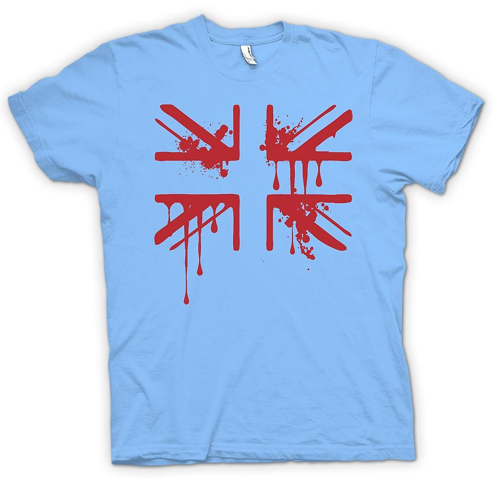 Mens T-Shirts-Grunge Blut Union Jack