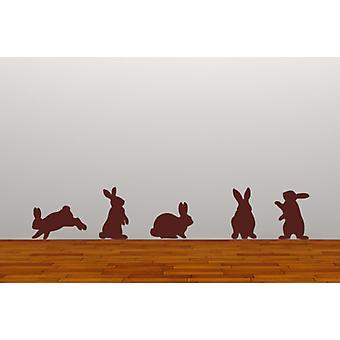 Set of 5 Rabbits Removable Wall Stickers