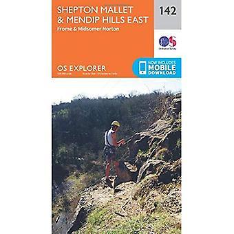 OS Explorer mapa (142) Shepton Mallet e leste de Mendip Hills