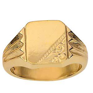 Caballeros 12x11mm 9ct oro grabado en anillo de sello rectangular