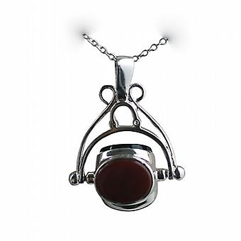 Silver 27x20mm Triple spinning fob Pendant with a rolo Chain 14 inches Only Suitable for Children