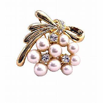 Stilig Trendy perler & Cubic zirkon rimelig gull brosje