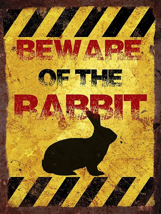 Vintage Metal Wall Sign - Beware of the rabbit