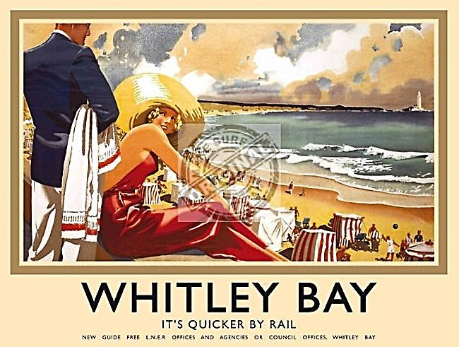 Whitley Bay (old rail ad.) small metal sign   (og 2015)