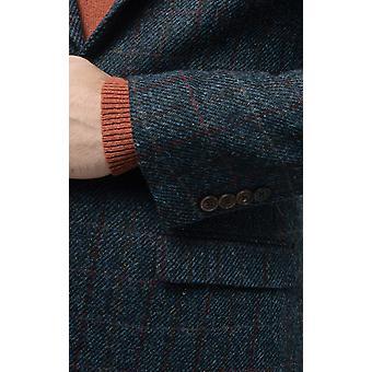 Harris Tweed Mens Dark Blue Windowpane Check Tweed Jacket Regular Fit 100% Wool Notch Lapel