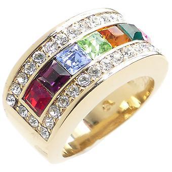 Ah! Bijoux Multi couleur design anneau serti de diamants simulé