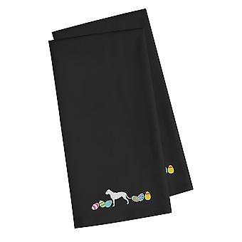 Pit Bull Terrier Easter Black Embroidered Kitchen Towel Set of 2