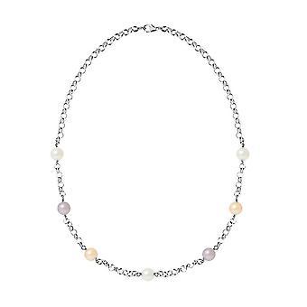 Collier en Argent 925 et Perles de culture Multicolores