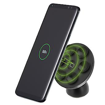 Adhesivo 2 en 1 Smartphones QI Wireless Charge Car Holder 5V 2A Negro