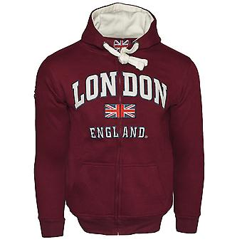 Le129zmow unisex london england zipped hoodie hooded sweatshirt maroon off white xs-2xl