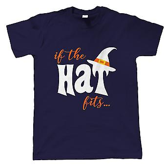 If The Hat Fits Mens T-Shirt   Halloween Fancy Dress Costume Trick Or Treat   Hallows Eve Ghost Pumpkin Witch Trick Treat Spooky   Halloween Gift Him Dad