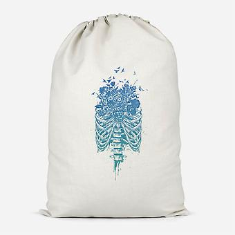 Ribcage And Flowers Cotton Storage Bag