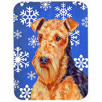 Airedale Winter Snowflakes Holiday Glass Cutting Board Large