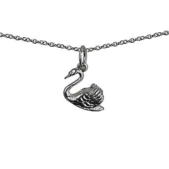 Silver 9x12 Swimming Swan Pendant with a rolo Chain 14 inches Only Suitable for Children