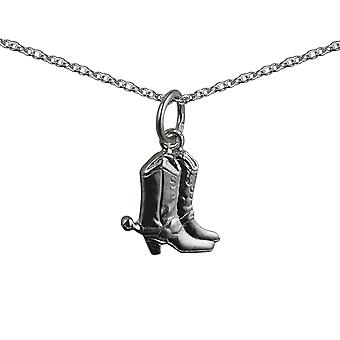 Silver 12x12mm Cowboy Boots Pendant with a rolo Chain 14 inches Only Suitable for Children