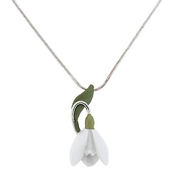 Silver Plated Enamel Snowdrop Flower Pendant Necklace Chain
