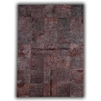 Rugs - Patchwork Leather Cubed Cowhide - Croco Brown D34