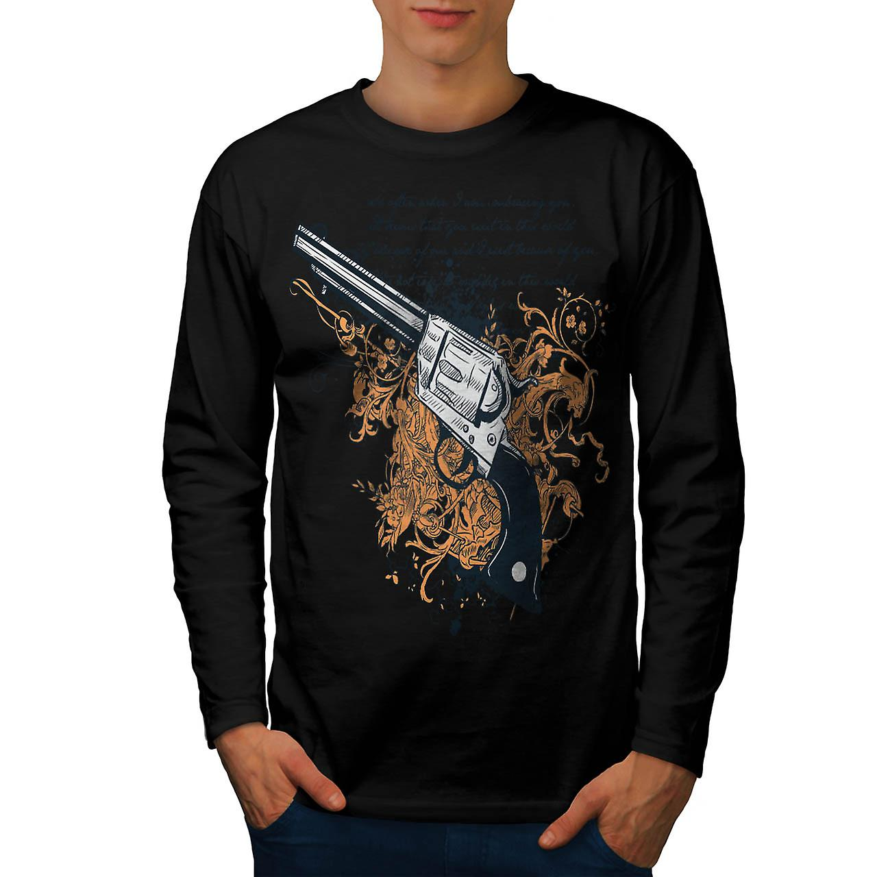 Deadly Weapon Pistol Gun Battle Men Black Long Sleeve T-shirt | Wellcoda