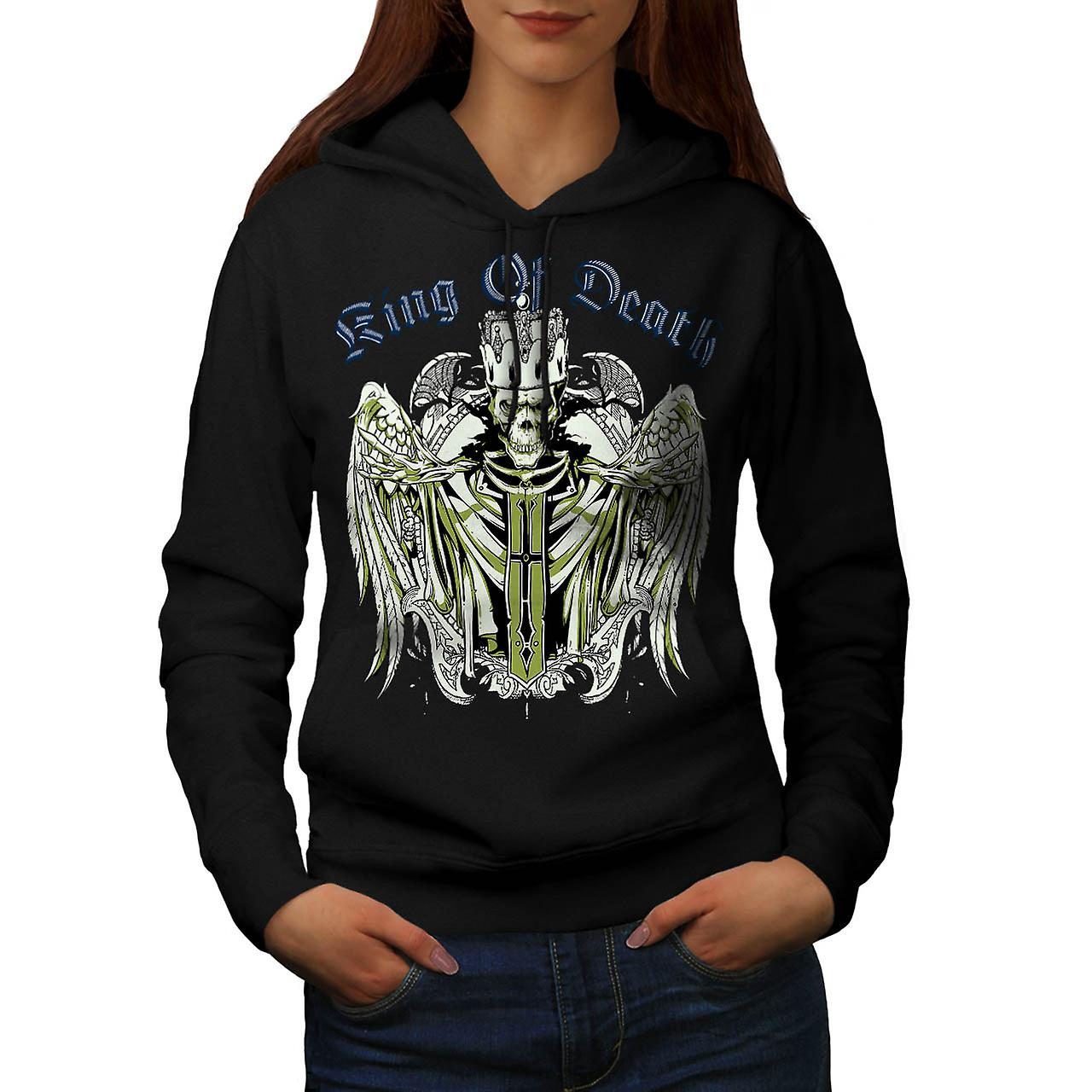 King Of Death Thrones Dead Skull Women Black Hoodie | Wellcoda