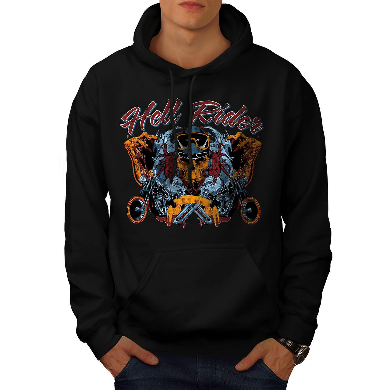 Hell Rider Chopper Biker Life Men Black Hoodie | Wellcoda