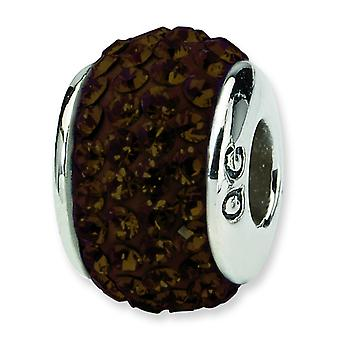 Sterling Silver Polished Reflections Brown Full Crystal Bead Charm
