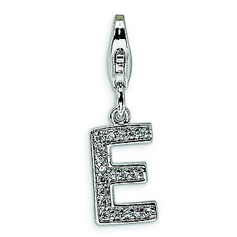 Sterling Silver Cubic Zirconia Letter E With Lobster Clasp Charm - Measures 24x8mm