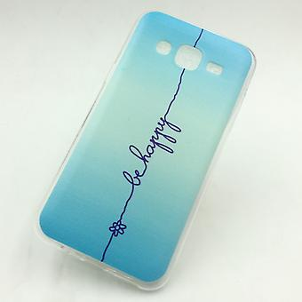 Cell phone case for Samsung Galaxy J5 cover case protective bag motif slim silicone TPU lettering be happy blue
