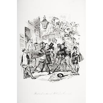 Emoción teatral de Señor Vincent Crummles ilustración de la novela del Charles Dickens Nicholas Nickleby por HK Browne conocida como Phiz PosterPrint