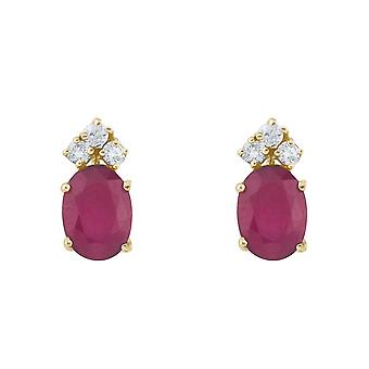 14k Yellow Gold Ruby And Diamond Oval Earrings