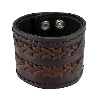 Brown Leather Crosshatch Style Wristband