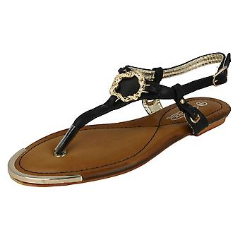 Spot de dames sur Sandal Post Toe plat avec sa garniture de serpent