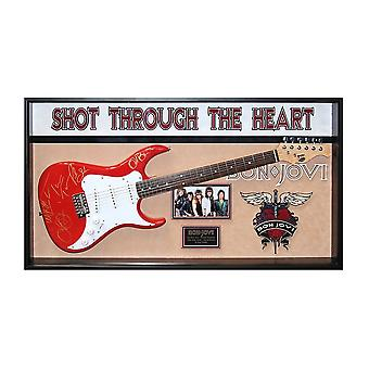 Bon Jovi Band Signed Guitar Shot Through The Heart Custom Framed