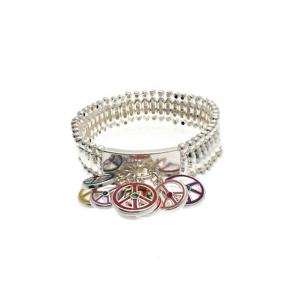 W.A.T Silver Style Coloured Peace Symbol Bracelet