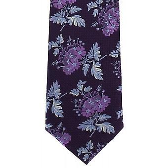 Michelsons of London Textured Bold Floral Silk Tie - Purple