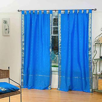 Bleu onglet albums Sari pure Rideau / Drape / panneau - paire