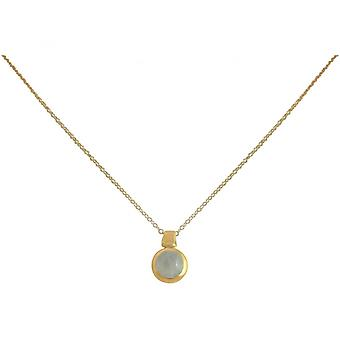 Ladies - necklace - 925 Silver - gold plated - Moonstone - 10 mm - white