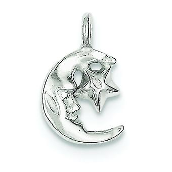 Sterling Silver Solid Polished Open back Moon and Star Charm - .8 Grams