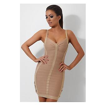 The Fashion Bible Goddess Gold Lurex Side Buckle Detail Bandage Dress