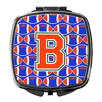 Letter B Football Green, Blue and Orange Compact Mirror