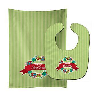 クリスマス リース提示緑色の赤ちゃんよだれかけ・布をげっぷ