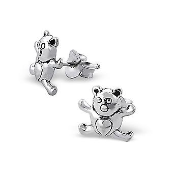 Teddy bear - 925 Sterling Silver Plain Ear Studs