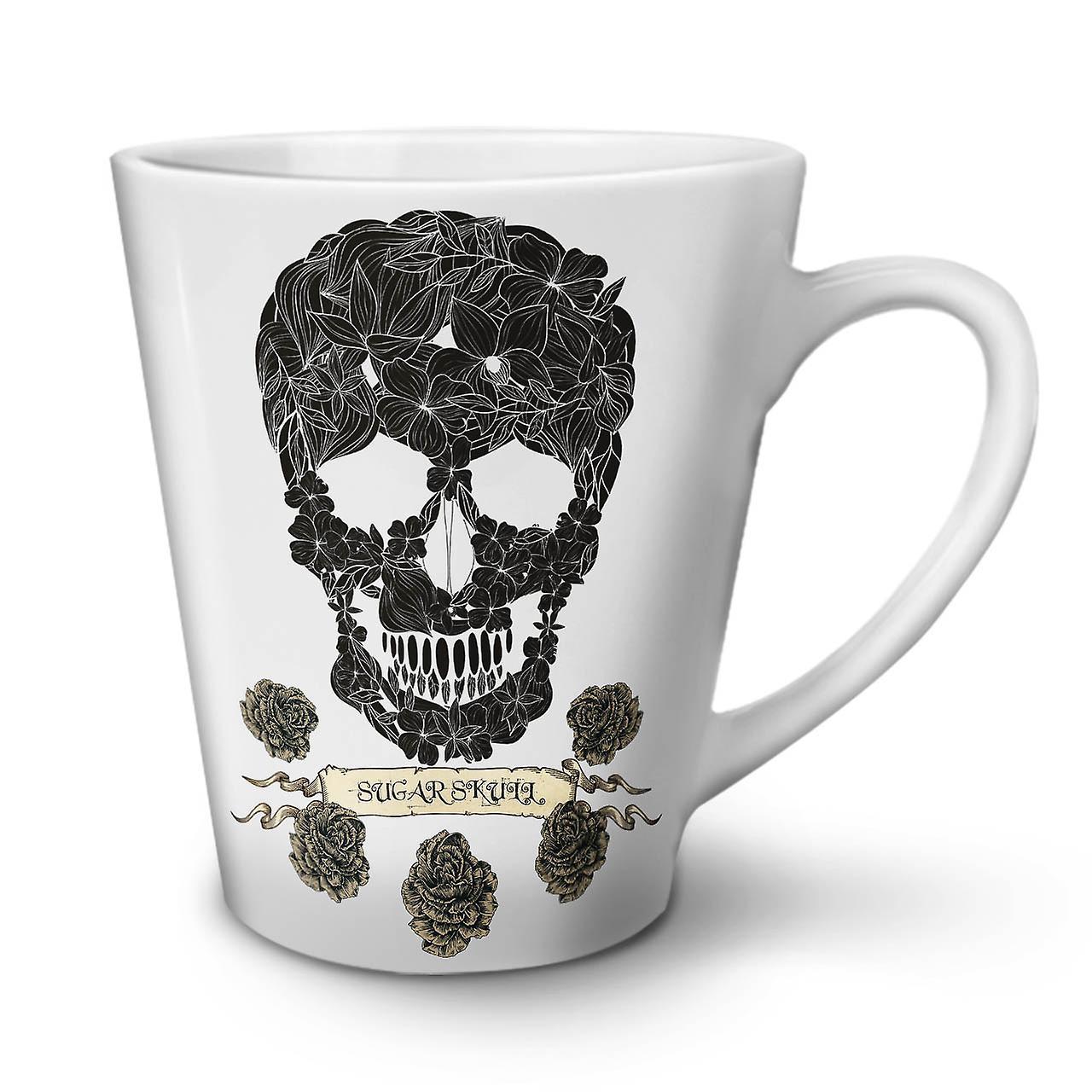 OzWellcoda New Ceramic 12 Mug Latte Rose White Tea Coffee Death Skull QECroeWdxB