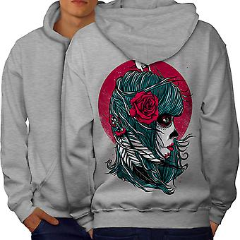 Rose Skull Fantasy Men GreyHoodie Back | Wellcoda