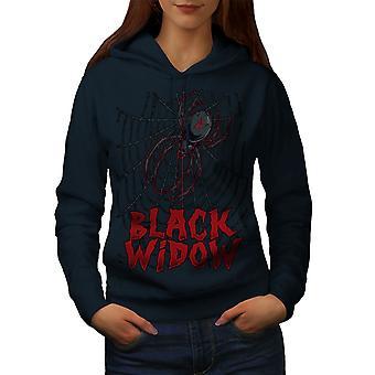 Czarny pająk smutne kobiety NavyHoodie | Wellcoda