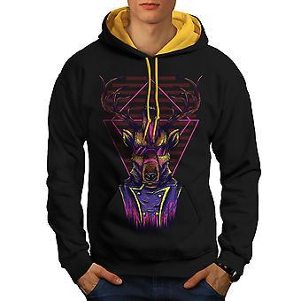 Future Punk Deer Animal Men Black (Gold Hood) Contrast Hoodie | Wellcoda