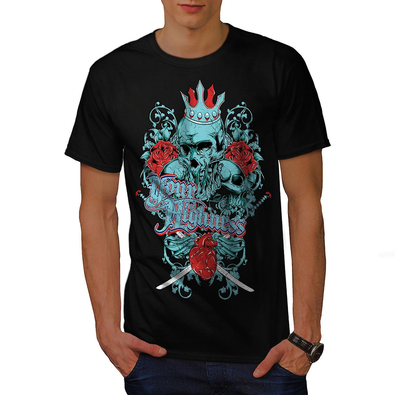 Your Highness King Skull Men Black T-shirt | Wellcoda