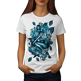 Blue Robot Nature Women WhiteT-shirt | Wellcoda