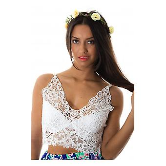 The Fashion Bible Lace Your Bets Bralet In White