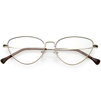 Women's Slim Metal Arms Cat Eye Glasses Clear Flat Lens 53mm